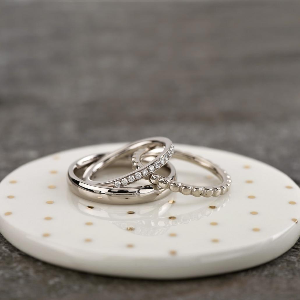 Ringkombination mit Brillantring in Weißgold mit Politur