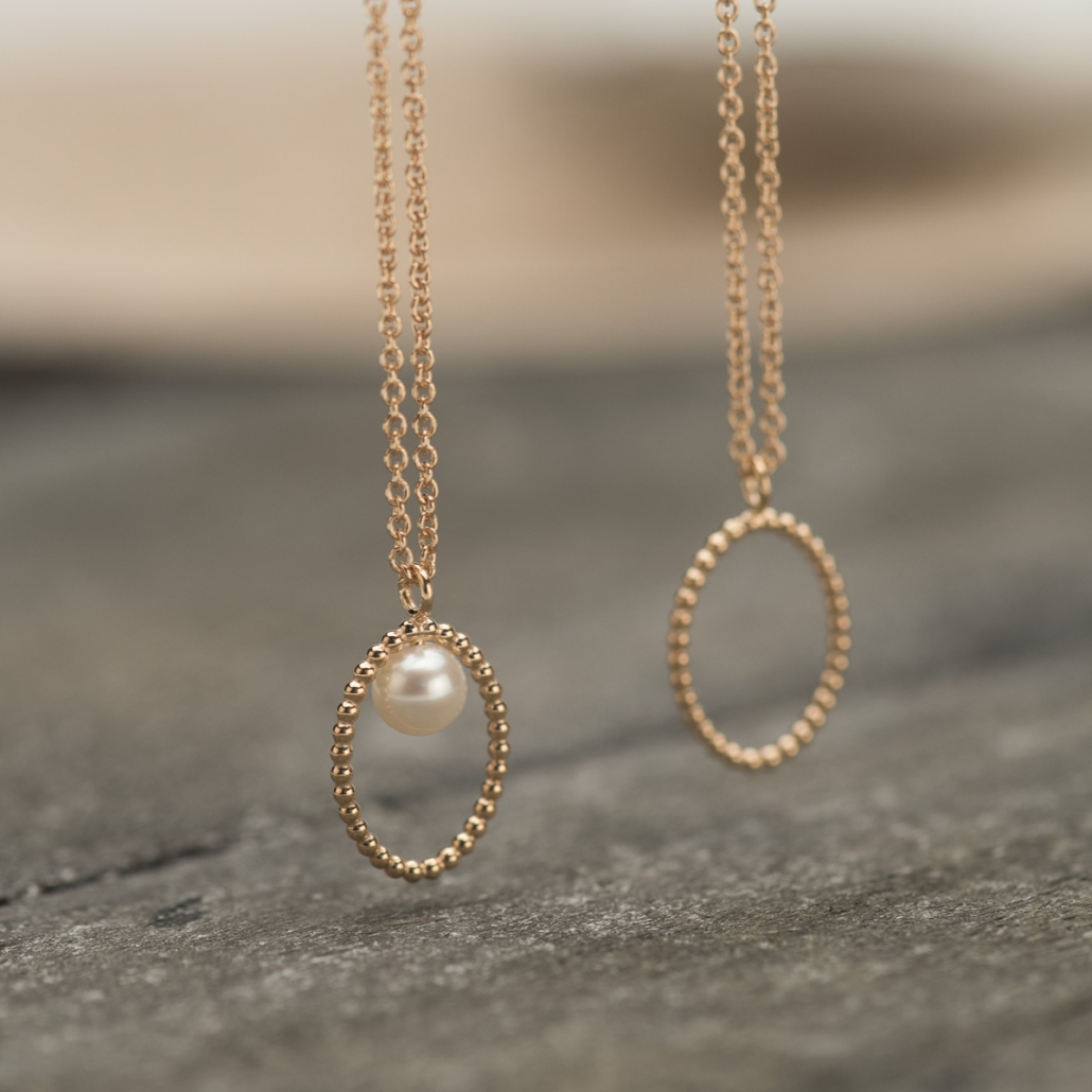 'Ellips' Anhaenger pur und mit Perle in Silber rosegoldplattiert
