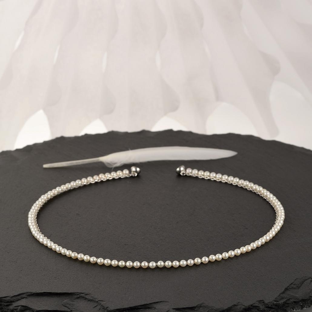 'Surround' Perlencollier in Silber