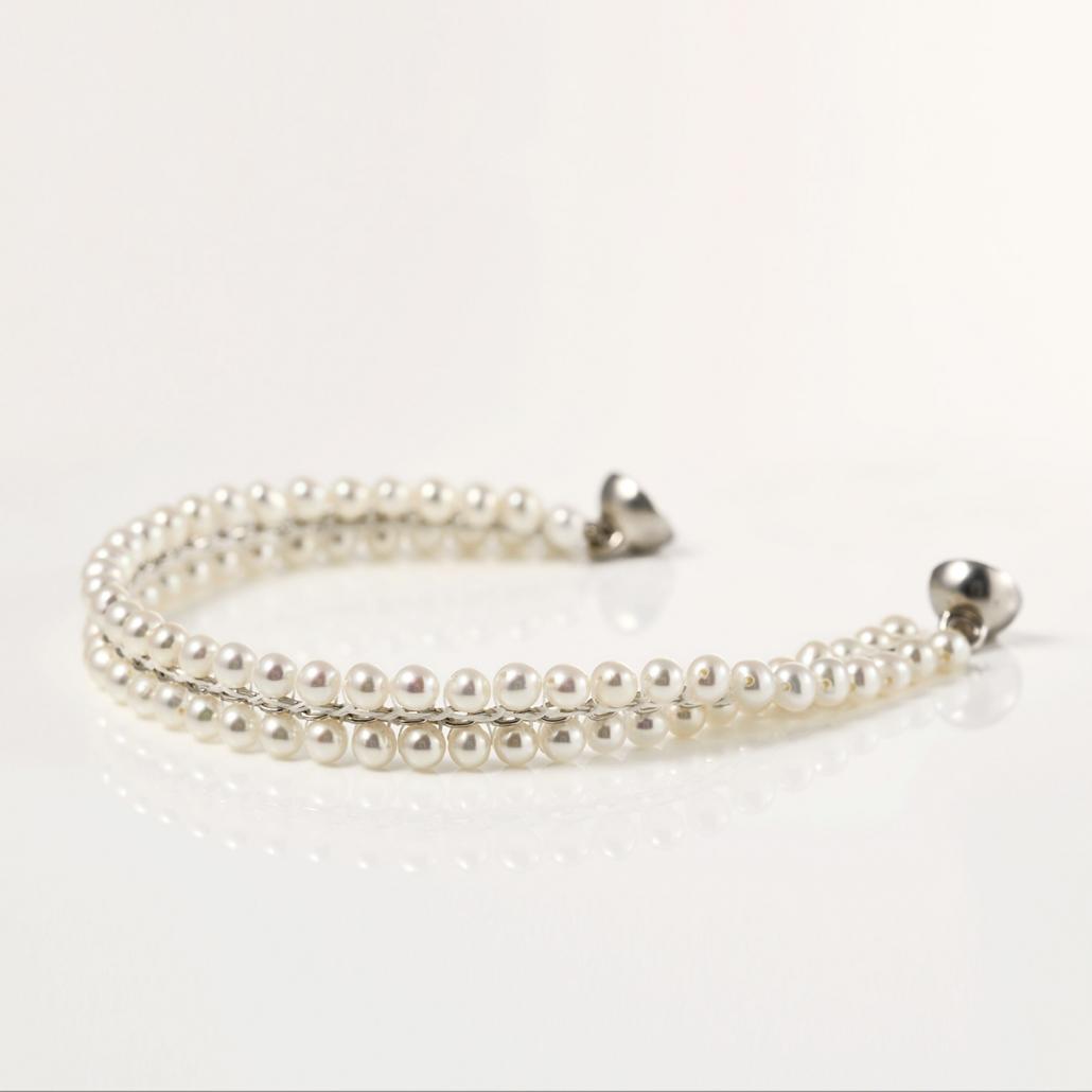 'Surround' Armband aus Silber, doppelreihig mit Perlen bestueckt